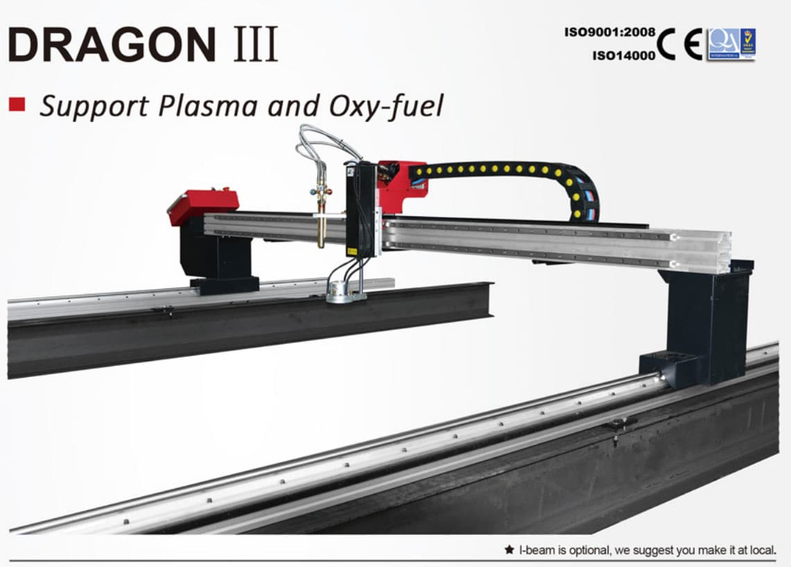 DragonIII portable gantry CNC cutting machine support plasma cutting and flame cutting